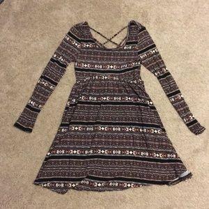 long sleeved dress, tribal patterned